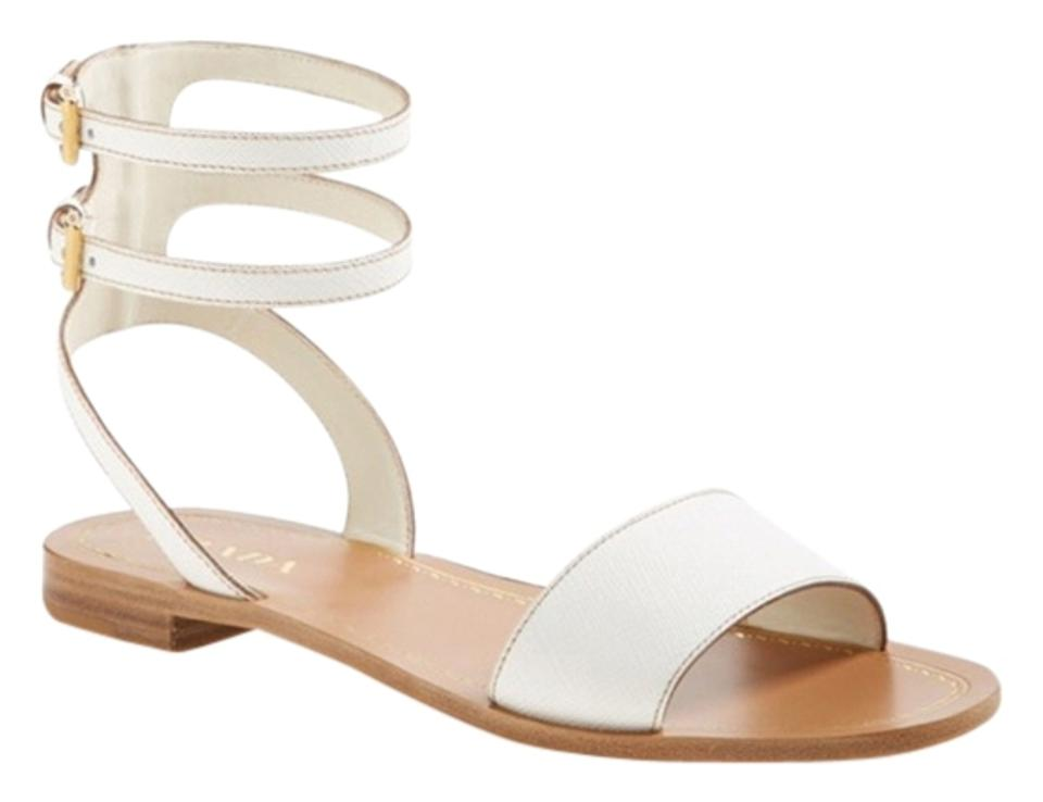 Prada White White Prada Double Ankle Strap Sandals e8cd97