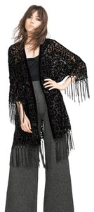 Zara Kimono Coat Festival Fringed Fringe New Tags Nwt Black Jacket