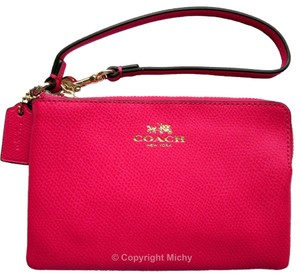Coach Leather Corner Zip Wallet Wristlet in Pink Ruby
