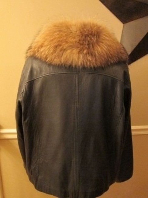 Lane Bryant Black with Fur Collar Leather Jacket