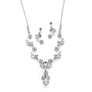 Mariell Silver Rhinestone Crystal Vine Necklace and Earrings 4540s-cr-s Jewelry Set