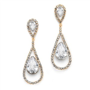 Mariell Dramatic Gold Rhinestone Earrings With Bold Teardrops 4541e-cr-g