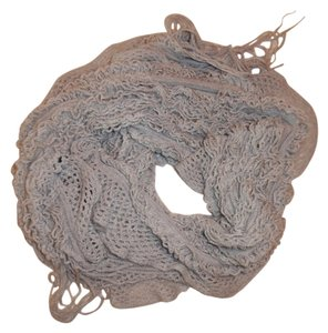 Pale Shaggy Fringe Ends Boho Loose-Knit Scarf