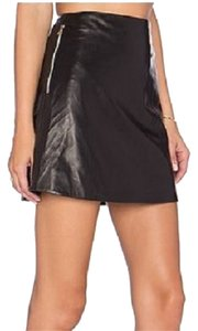 L'AGENCE Designer Leather Mini Skirt Black