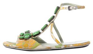 Prada Pr.j1210.14 Green Jeweled Flower Sandals