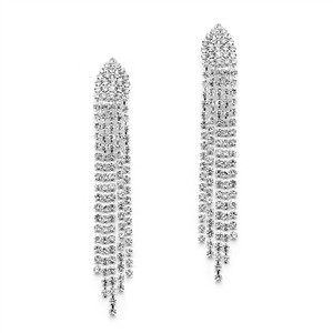 Mariell Silver Clip-on Rhinestone Shower 4542ec-cr-s Earrings