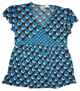 Duo Maternity Geometric Print Tie-Back Stretch V-Neck Baby Belly Blouse