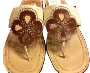 Josef Seibel Flowers Comfortable Open Toe Dressy Leather Off White/Tan Sandals