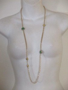J.Crew J.crew Crystal Dot Chain Necklace Item 04739 Green Yellow