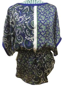Michael Kors Shirt Blue Green White Scarf Elegant Modern Casual Career Boho Bohemian Classic Cassy Chic Fashion Indie Professional Top Azzurite