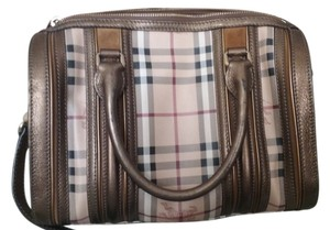 Burberry Leather Monogram Satchel in brown bronzer burberry logo