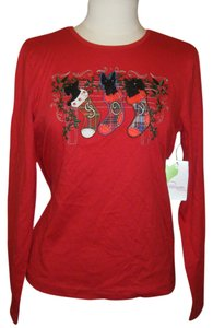 Pappagallo T Shirt BLACK W RED PLAID