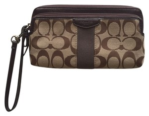 Coach Wristlet in Brown And Tan