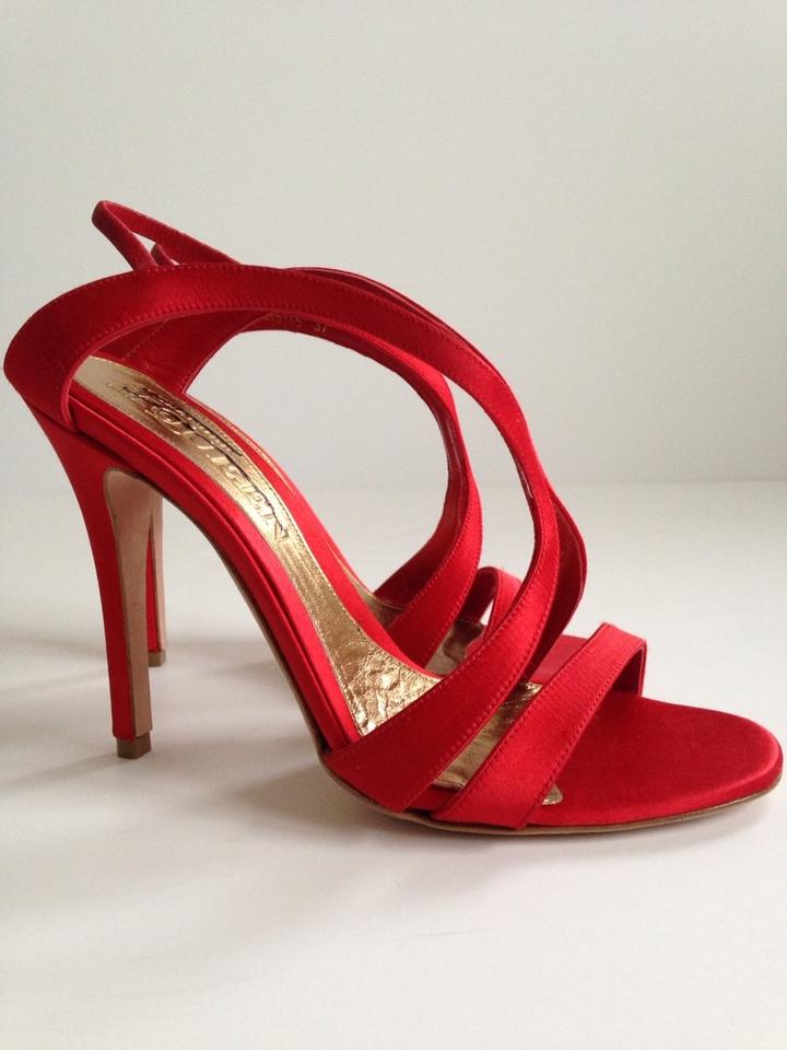 c3cce79fbb1 Alexander McQueen Red Satin Strappy Sandals Size US 7 Regular (M