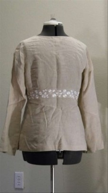 Ann Taylor LOFT Petites Linen Cool And Comfortable Embroidered Top Biege