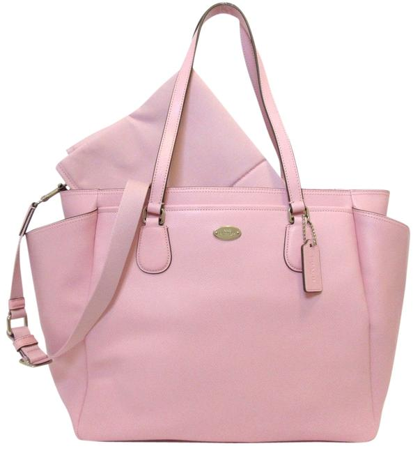 Item - Tote F35702 Pink Petal Silver Pvc Over Canvas Leather Diaper Bag