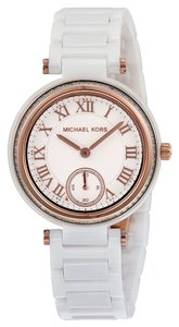Michael Kors Crystal Bezel White Ceramic with Rose Gold Accents Designer Ladies Watch