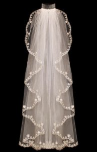 Ivory Beaded Embroidery Waterfall Fingertip Wedding Veil