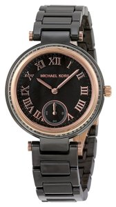 Michael Kors Crystal Bezel Black Ceramic and Rose Gold Accents Designer Ladies Dress Watch