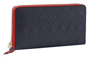 Tory Burch Tory Burch Blue Heart-Embossed Multi-Gusset Zip Continental Wallet