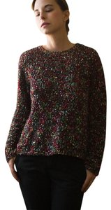 Lord & Taylor And Confetti Warm Knit Wool Angora Nylon & Fall Iridescent Red Lilac Lavendar Sweater