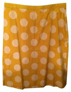Boden Skirt Yellow with White Polka Dots