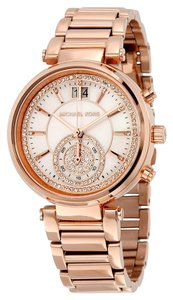 Michael Kors Crystal Pave Mother of Pearl Dial Rose Gold Stainless Steel Designer Luxury Ladies Dress Watch