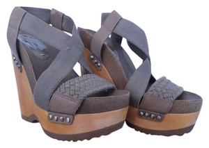 BCBGMAXAZRIA Grey Wedges