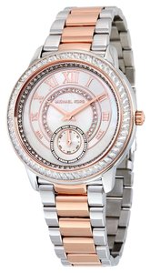 Michael Kors Crystal Pave Silver and Rose Gold Stainless Steel Designer Ladies Luxury Watch