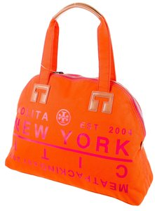 Tory Burch Traveler Carry-all Reva Logo Satchel in Orange, Pink