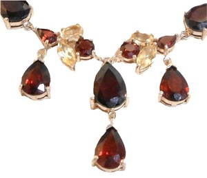 New Yk Jeweler Garnets and Topaz in Sterling Silver Necklace