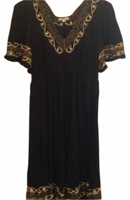 Item - Black with Gold Detail Knee Length Short Casual Dress Size 10 (M)