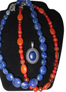 Carolyn Pollack Sterling Lapis Necklace, Lapis Enhancer and Coral, Carnelian and Jasper Necklace Bundle/Lot