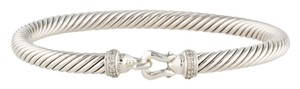 David Yurman Sterling silver David Yurman Cable Buckle diamond bangle fishhook bracelet