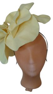 Tracey Vest Pale Yellow Felt Oversized Rosette Headband Headpiece