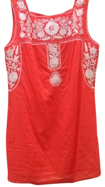 Item - Poppy Red L Amira Dress White Swimsuit Large Cover-up/Sarong Size 12 (L)