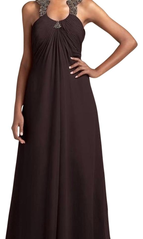 c67804c22ef3 Aidan Mattox Brown Jeweled Horseshoe Neckline Gown Long Cocktail ...