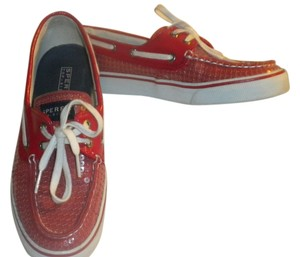 Sperry Topsider Boat Shoe Red Sequin Flats