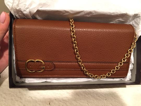 Gucci Wristlet in Cognac & Gold