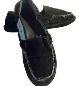 Sanuk Sidewalk Canvas Beach Slip On Black with Aqua/blue trim Flats