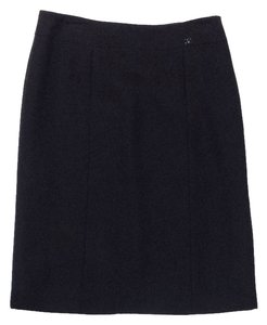 Chanel Wool Silk Skirt Black