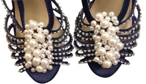 Pour La Victoire Leather Soles Black with Faux Pearls and Rhinestones Formal