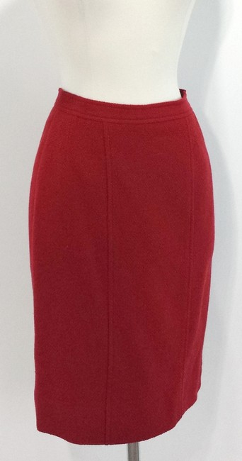 Chanel Wool Skirt Red