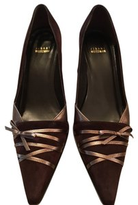 Stuart Weitzman Brown Leather Cola Suede Pumps