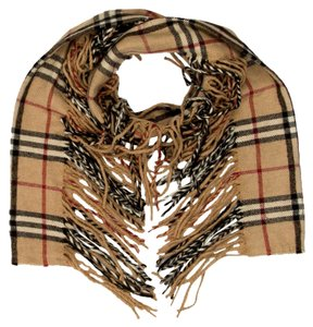 Burberry Brown, black, red Burberry House Check plaid cashmere fringe scarf