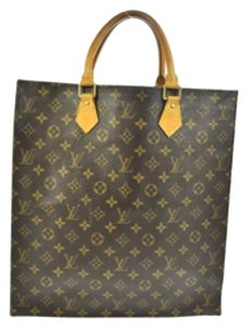 Louis Vuitton Vintage Monogram Leather Sac Plat Tote in brown