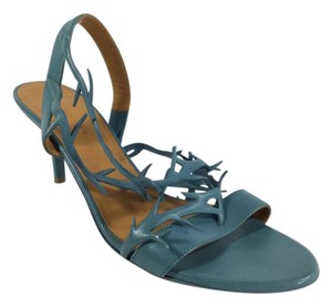 Balenciaga Leather Strappy Blue Sandals
