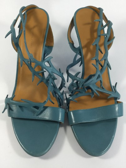 Balenciaga Leather Strappy Heel Low Heel Blue Sandals
