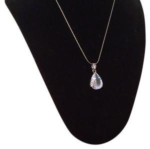 Stunning! Sterling over Platinum White CZ Pear Shaped Pendant Drop Necklace - 18