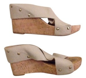 Lucky Brand Studded Beige with Cork Wedge Heel Wedges